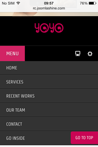 Special designed mobile menu system